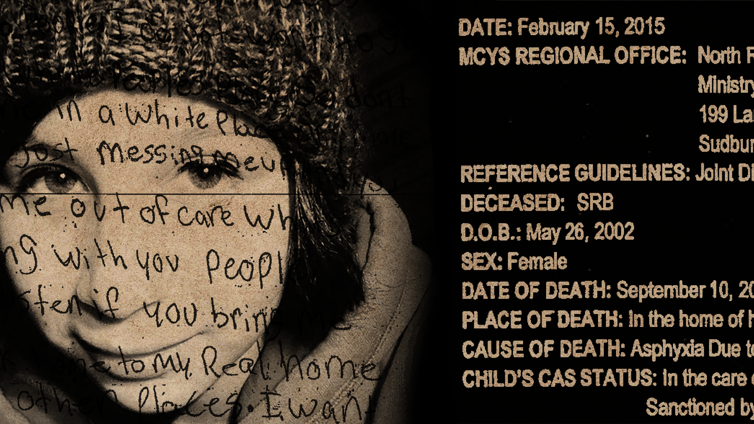 Composite image of a young girl's face and text